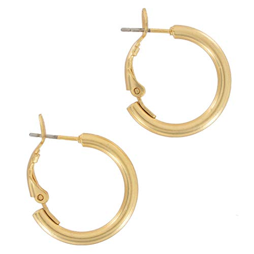 Pierced Earrings Matte Gold Tone Plain Hoop 7/8