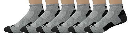 PUMA Men's 6-Pack Quarter Crew Socks P113434, Heather, Sock 10-13 Shoe Size 6-12