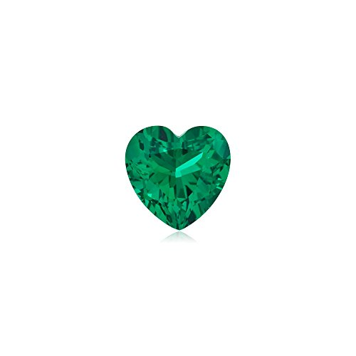 0.69-0.97 Cts of 6x6 mm AAA Heart Russian Lab Created Emerald ( 1 pc ) Loose (Lab Created Emerald Stone)