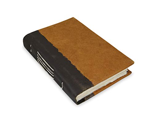Nepali Collector Journal, Leather & Lokta, Writing Notebook with Handmade Paper. Made in The Himalayas of Nepal. (5x8, Terra ()