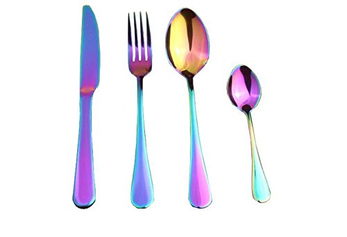 Flatware Set 16-piece Stainless Steel Dinnerware Rainbow Colorful Service for 4