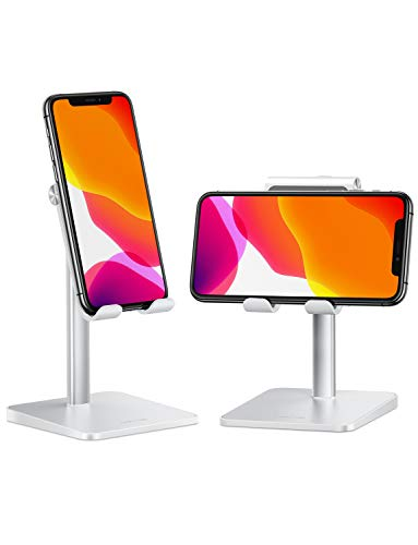 Cell Phone Holder for Desk, OMOTON Cell Phone Stand Dock Adjustable Angle (5-45°) for Office, Kitchen, Movies, Compatible with iPhone 11 Pro/Xs Max/Se2 and All Smartphones (3.5-7.0 Inch)