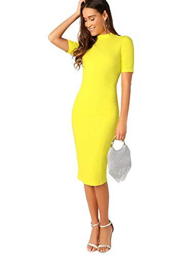 99a03dc2 SheIn Women's Short Sleeve Elegant Sheath Pencil Dress X-Small Mock Neck  Yellow