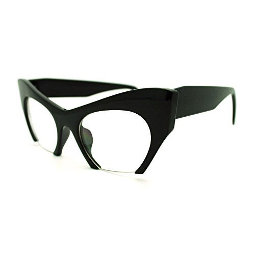 AStyles - Semi Rimless Cut Off Bottom Razor Clear Lens Cat Eye Glasses (Black, - Rimless Glasses
