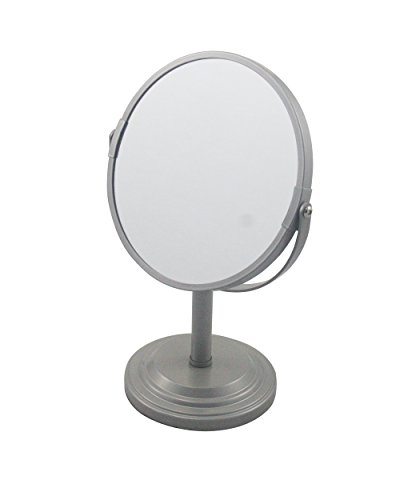 LDR Industries Bathroom Vanity Double Sided Freestanding Pedestal Makeup and Shaving Mirror Regular View and 3X Magnification (Pedestal Makeup Mirror)