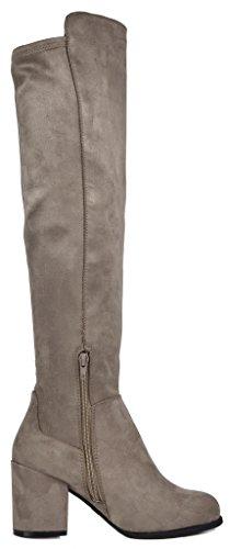 TOETOS Frauen Prade-High Overknee-Blockabsatz Stiefel Khaki-01