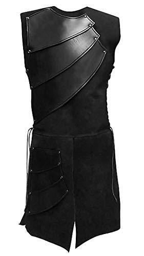 Alivila.Y Fashion Mens Renaissance Medieval Waistcoat Victorian Vest Warrior Costume N976-Black-XL