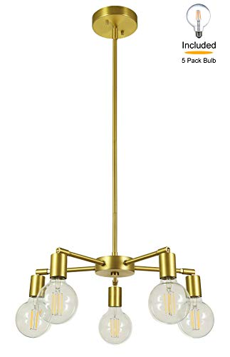 XiNBEi Lighting 5 Light Chandeliers, Pendant Lighting with LED Bulbs, Satin Brass Finish XB-C1211-5-SB