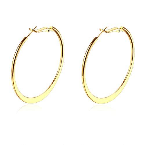 - Womens Hoop Earrings,Silver Hoops Earrings for Women,18K Gold Polished Big Round Circle Earrings Fashion Jewelry Ladies Large Earrings Hoops (Hoop Earring-Yellow Gold)