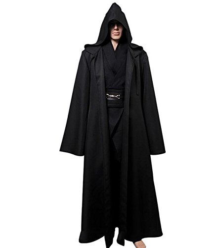 L'vow Fashion Gothic Hooded Mens Black Feather Cape Cloak Long Coats (XXL(Mens)) by L'vow (Image #2)
