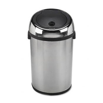 Kazaam Motion-Activated Receptacle, Round, 17 gal, Stainless Steel/Black - Kazaam Receptacle