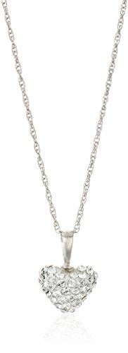 14k White Gold Heart Pendant (10K White Gold Swarovski Clear Crystal with 14K Gold Filled Chain Heart Pendant Necklace,)