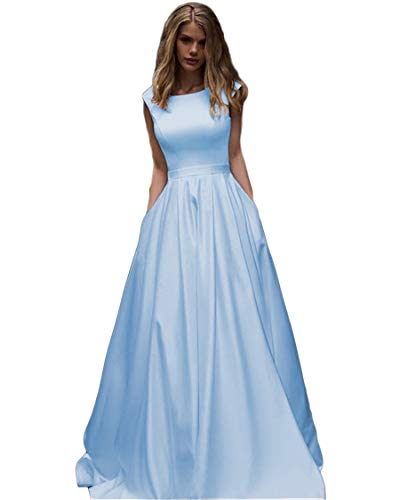 - Long Satin Bateau Neck Prom Dresses A-line Evening Ball Gown with Cap Sleeves Pockets for Juniors Light Sky Blue
