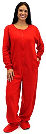 SleepytimePjs Adult Solid Red Fleece Footed Pajama (Lrg)