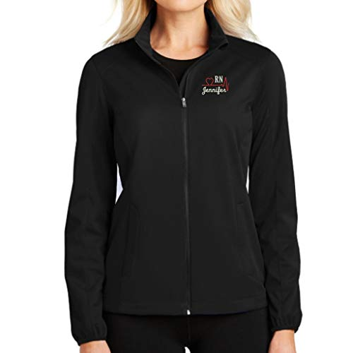 (Why Not Stop N Shop Personalized RN Nurse Full Zip Jacket with Pockets (X-Large, Deep Black))