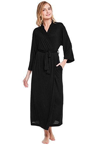 Alexander Del Rossa Womens Modal Knit Robe, Full Length Loungewear, Large Black (A0400BLKLG) - Black Dressing Gown