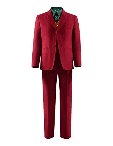 Chong Sheng Men's Knight Joker Costume Suit Shirt Vest Pants Tie Full Set Halloween Cosplay Outfit (XL, Full Set - Flange) -