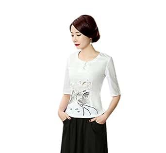 YueLian Mujeres Elegante Casual Estilo Chino Lino Cuello Redondo Manga 3/4 Loto Saco Top Blusa Camisera Blanca (XL)