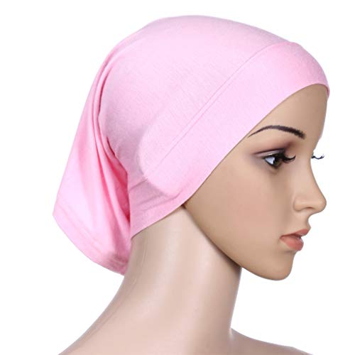 Coco-Z 2019 comf Muslim Inner Hijab Headscarf Cap Islamic Full Cover Islamic Hat Pink by Coco-Z (Image #5)