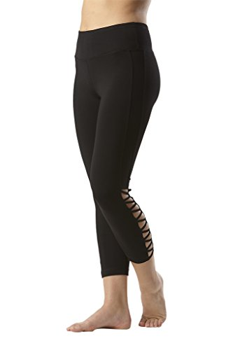 Womens Green Paramount Pants - 90 Degree By Reflex Womens Side Cut Out Capris - Black - Medium