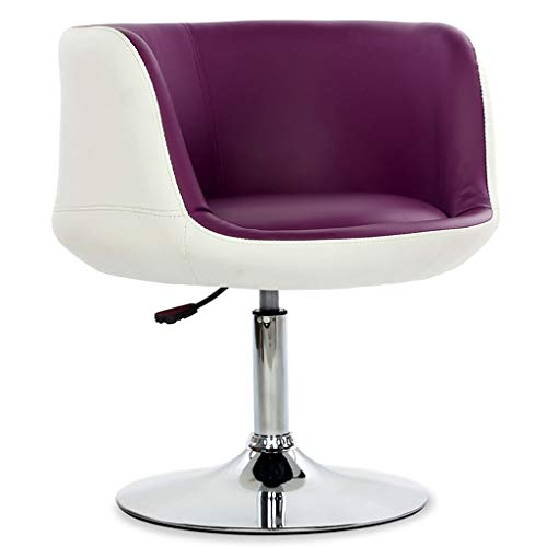 (Adjustable Swivel Chair Contemporary Round Back Tilt Swivel Accent Chair,Living Room PU Leather Cushion Arm Chair, Chrome Steel Stool Chair, Gas Lift 42-58cm Salon Chair ( color : White purple ))