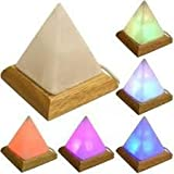 Himalayan White Pyramid USB Lamp with Multi-Colour LED Bulb (Aprox 4 Inch Tall)