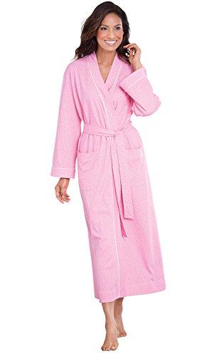 Cotton Dot Pink Jersey (PajamaGram Long Robes for Women - Soft Women's Cotton Robe, Pink, XL/1X, 18-20W)