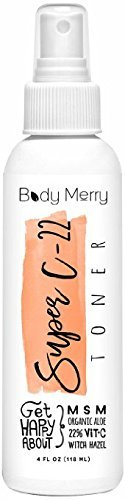 Body Merry Super C-22 Toner- Best Botanical Oils to Calm Acne, Minimize Pores & Remove Oil & Dirt for Clean and Clear Skin with the Power of 22% Vitamin C Serum + Natural Organic Aloe + Witch Hazel…