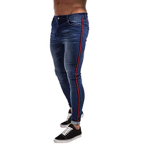 YKARITIANNA Fashion Men's Stretch Pocket Casual Slim Sweatpants Pencil Jeans Trousers Pants Blue ()
