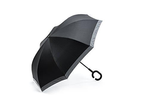 FYI Inverted Umbrella/Shoulder Carry Bag/1'' High Visibility Reflective Strip/C-Shapped handle/Windproof/Double Layer/ by FYI
