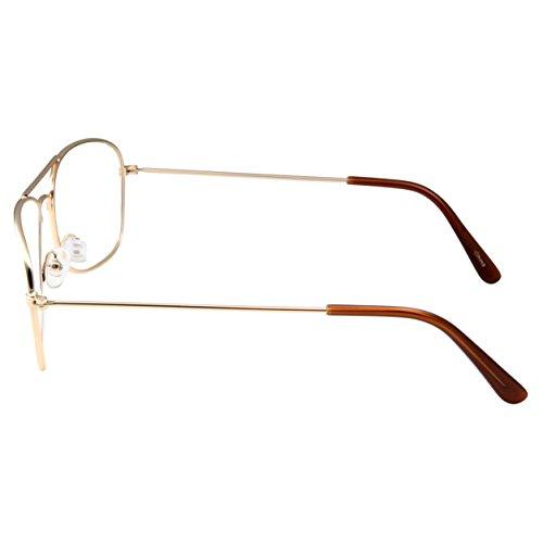 095ab2ac1b91 Clear Lens Gold Square Aviator Glasses Classic Non-Prescription for Fashion