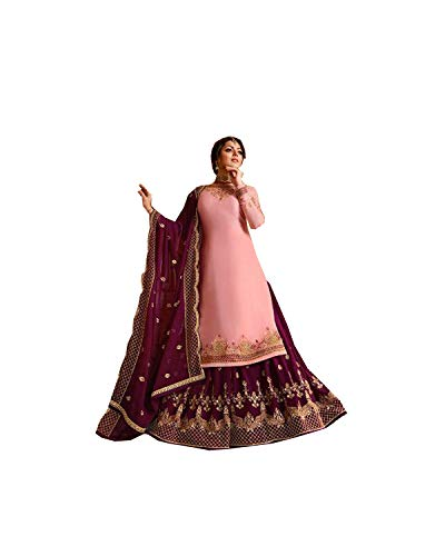Pakistani Clothes - Delisa Indian/Pakistani Ethnic wear Georgette Straight Salwar Kameez for Womens (Light Pink, MEDIUM-40)