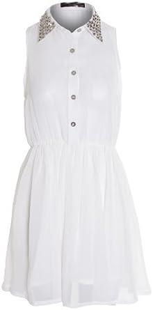Sapphire de Mujer Rojo Blanco Negro Cuello Plateado Con Tachas Chifón Damas Camisa Blusa Vestido: Amazon.es: Ropa y accesorios