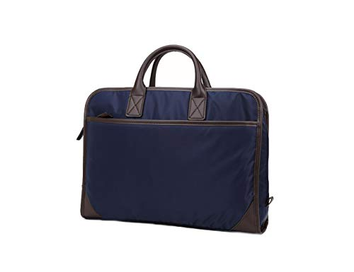 Men Laptop Briefcase Water Proof File Office Work Business Carry On With Leather Strap-YONBEN (Blue)
