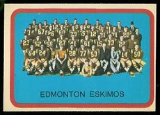 1963 Topps CFL (Football) card#29 Edmonton Eskimos Team Card of the Edmonton Eskimos Grade Good