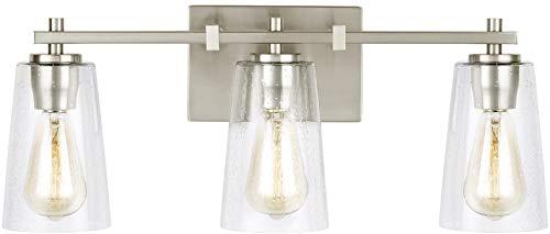 Feiss VS24303SN Mercer Glass Wall Vanity Bath Lighting, Satin Nickel, 3-Light (22