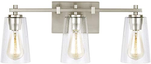 Feiss VS24303SN Mercer Glass Wall Vanity Bath Lighting, Satin Nickel, 3-Light 22 W x 9 H 180watts