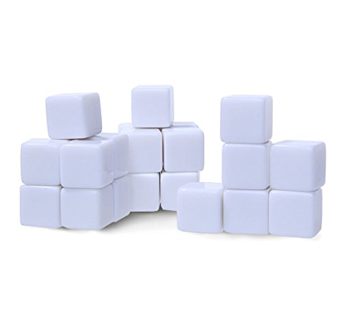 Custom Dice - 16 mm Blank White Acrylic Cubes - D6 Dice For Board Games, DIY, Fun, and Teaching - 25 Pcs.