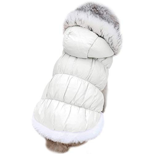 AOFITEE Winter Dog Down Coat Waterproof Windproof Pet Hood Jacket with Faux Fur Collar, Cold Weather Warm Fleece Lined Pet Vest Outwear for Small and Medium Dogs Cats