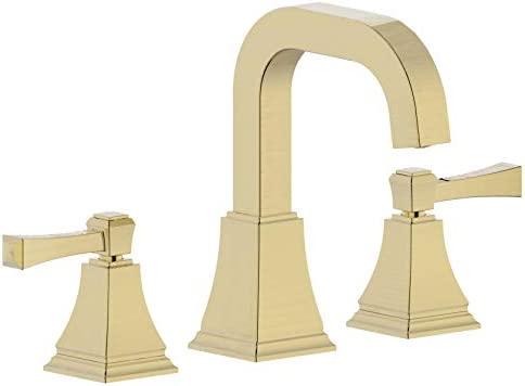 Derengge 223-QF-CS 8 Two Handle Widespread Bathroom faucet with Push up Pop-up Drain, Meets UPC cUPC NSF AB1953 Lead Free, Brushed Gold Finished