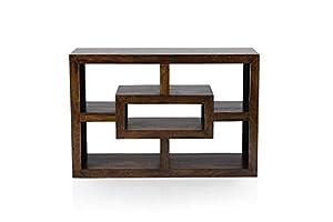 Saraf Furniture Solid Sheesham Wood Floor Low Bookcase for Home | Rack Shelf |Dark Brown