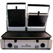Eurodib PD Italian Double Panini Grill - Flat Bottom, Top Ribbed, 11 x 20 x 17 inch -- 1 each.