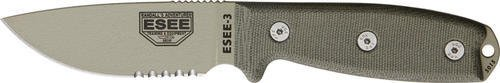 Esee Mdl 3 Part Srtd Fxd Knife, 3.75in, Srtd, OD Green Canvas Micarta Hdl, Modified pommel and