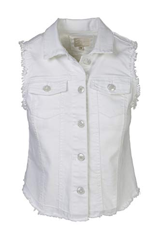 SHOP DORDOR BW-073 Women's Sleeveless Frayed Armhole Washed Jean Denim Vest Jacket White S ()