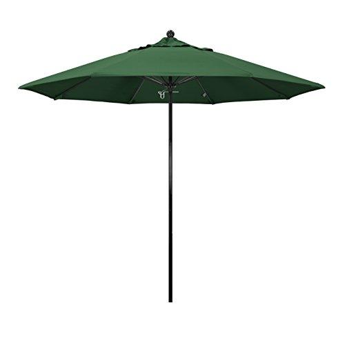 California Umbrella 9' Round 100% Fiberglass Frame Market Umbrella, Push Lift, Black Pole, Hunter Green Olefin