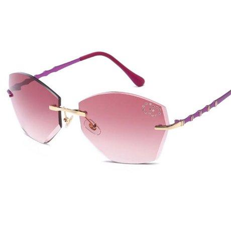 sol GGSSYY para marca cuadradas sin de Red Gafas corte de Púrpura Diseñador la Gafas con graduadas montura mujer gradual 4ErEwHq