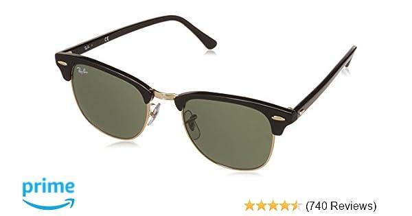 1783f8bec9 Amazon.com  Ray-Ban CLUBMASTER - EBONY  ARISTA Frame CRYSTAL GREEN Lenses  51mm Non-Polarized  Ray-Ban  Clothing