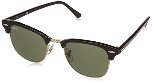 Ray-Ban CLUBMASTER - EBONY/ ARISTA Frame CRYSTAL GREEN Lenses 51mm - Ban Ray Black Clubmaster