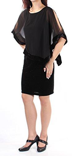 MSK Womens Glitter Velvet Capelet Dress Black -