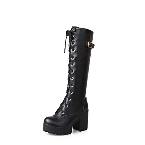 Gothic Square Chunky Block High Heels Riding Boots Women Lace Up Thick Platform Rock Punk Cosplay Knee High Boots Shoes Black